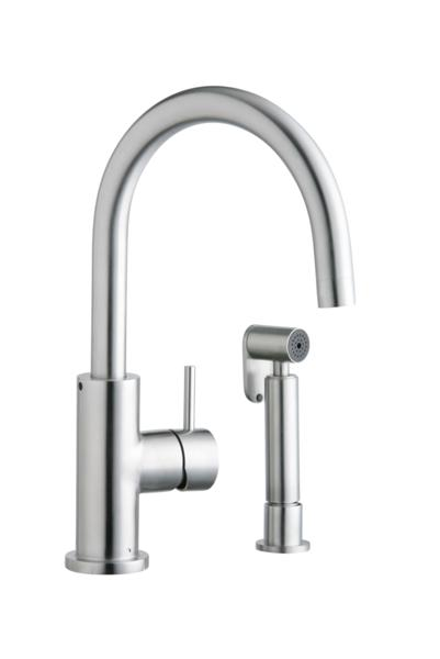 Image For Elkay Allure Single Hole Kitchen Faucet With Lever Handle And  Side Spray Satin Stainless
