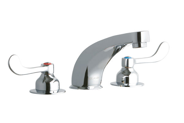 "Elkay 8"" Centerset with Concealed Deck Faucet with 6"" Cast Fixed Spout 4"" Wristblade Handles Chrome"