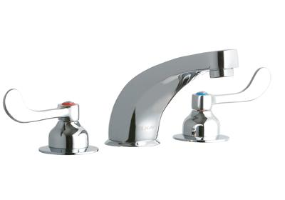 "Image for Elkay 8"" Centerset with Concealed Deck Faucet with 6"" Cast Fixed Spout 4"" Wristblade Handles Chrome from ELKAY"