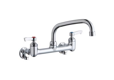 "Image for Elkay Foodservice 8"" Centerset Wall Mount Faucet with 8"" Arc Tube Spout 2"" Lever Handles 1/2in Offset Inlets Chrome from ELKAY"