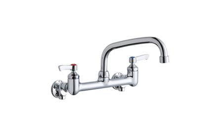 "Image for Elkay Foodservice 8"" Centerset Wall Mount Faucet with 8"" Arc Tube Spout 2"" Lever Handles 1/2 Offset Inlets+Stop from ELKAY"