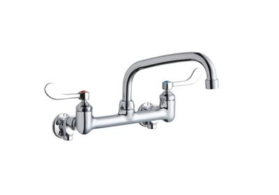 "Image for Elkay Foodservice 8"" Centerset Wall Mount Faucet with 8"" Arc Tube Spout 4"" Wristblade Handles 1/2 Offset Inlets+Stop from ELKAY"