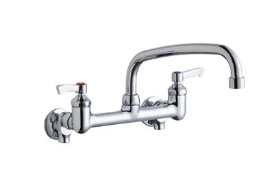 "Image for Elkay Foodservice 8"" Centerset Wall Mount Faucet with 10"" Arc Tube Spout 2"" Lever Handles 1/2 Offset Inlets+Stop from ELKAY"