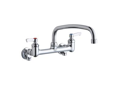 "Image for Elkay Foodservice 8"" Centerset Wall Mount Faucet with 14"" Arc Tube Spout 2"" Lever Handles 1/2 Offset Inlets+Stop from ELKAY"