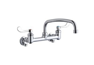 "Image for Elkay Foodservice 8"" Centerset Wall Mount Faucet with 14"" Arc Tube Spout 4in Wristblade Handles 1/2 Offset Inlets+Stop from ELKAY"