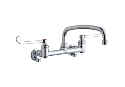 "Image for Elkay Foodservice 8"" Centerset Wall Mount Faucet with 12"" Arc Tube Spout 6in Wristblade Handles 1/2 Offset Inlets+Stop from ELKAY"