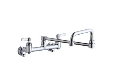 "Image for Elkay Foodservice 8"" Centerset Wall Mount Faucet with 8"" Double Swing Spout 2"" Lever Handles 1/2 Offset Inlets+Stop from ELKAY"