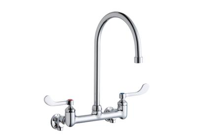 "Image for Elkay Scrub/Handwash 8"" Centerset Wall Mount Faucet with 8"" Gooseneck Spout 4in Wristblade Hndle 1/2 Offset Inlets+Stop from ELKAY"