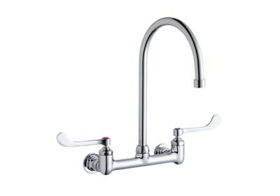 "Image for Elkay Scrub/Handwash 8"" Centerset Wall Mount Faucet w/8"" Gooseneck Spout 6"" Wristblade Handles 1/2in Offset Inlet from ELKAY"