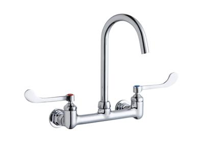 "Image for Elkay 8"" Centerset Deck Mount Laminar Flow Faucet with 5"" Gooseneck Spout 6"" Wristblade Handles 1/2in Offset Inlets from ELKAY"