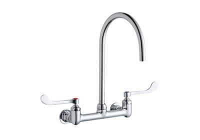 "Image for Elkay 8"" Centerset Deck Mount Laminar Flow Faucet with 8"" Gooseneck Spout 6"" Wristblade Handles 1/2in Offset Inlets from ELKAY"