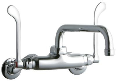 "Image for Elkay Foodservice 3-8"" Adjustable Centers Wall Mount Faucet w/8"" Tube Spout 6in Wristblade Handles 2in Inlet Chrome from ELKAY"