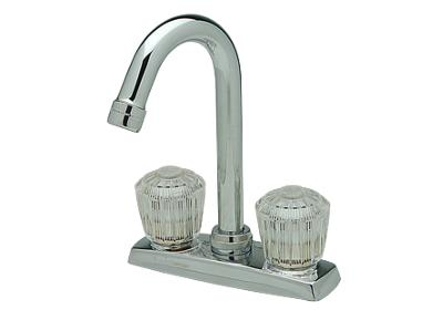 "Image for Elkay 4"" Centerset Deck Mount Faucet with Gooseneck Spout and Clear Crystalac Handles Chrome from ELKAY"