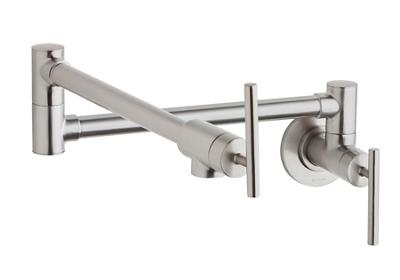 Image for Elkay Avado Wall Mount Pot Filler Kitchen Faucet with Lever Handles Lustrous Steel from ELKAY