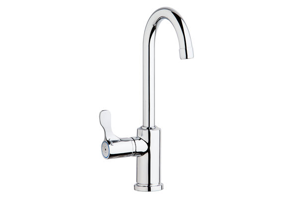 "Elkay Single Hole 12-1/2"" Deck Mount Faucet with Gooseneck Spout Lever Handle on Left Side Chrome"