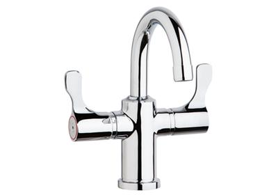 "Image for Elkay Single Hole 8-5/8"" Deck Mount Faucet with Gooseneck Spout Twin Lever Handles Chrome from ELKAY"