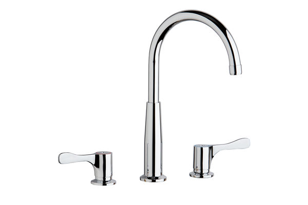 "Elkay 8"" Centerset Concealed Deck Mount Faucet with Gooseneck Spout and 4"" Lever Handles + Stop Chrome"