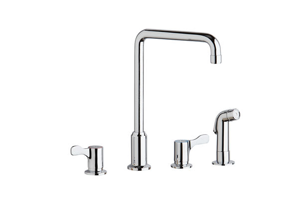 "Elkay 8"" Centerset Concealed Deck Mount Faucet with Arc Spout and 2-5/8"" Lever Handles with Side Spray Chrome"
