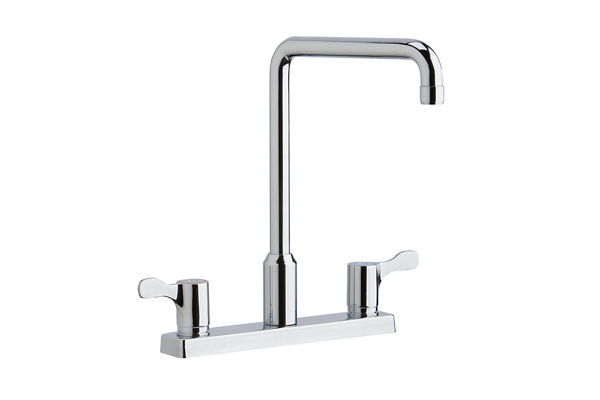 "Elkay 8"" Centerset Exposed Deck Mount Faucet with Arc Spout and 2-5/8"" Lever Handles Chrome"