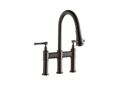 Image for Elkay Explore Three Hole Bridge Faucet with Pull-down Spray and Lever Handles Antique Steel from ELKAY