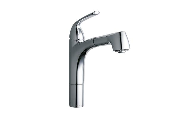 Elkay Gourmet Single Hole Kitchen Faucet Pull Out Spray And Lever
