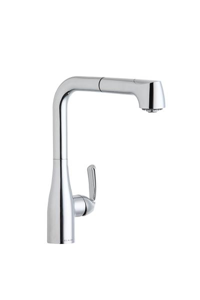 image for elkay gourmet single hole kitchen faucet with pullout spray and lever handle