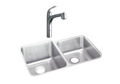 "Image for Elkay Lustertone Stainless Steel 31-1/4"" x 20-1/2"" x 9-7/8"", Offset Double Bowl Undermount Sink + Faucet Kit from ELKAY"