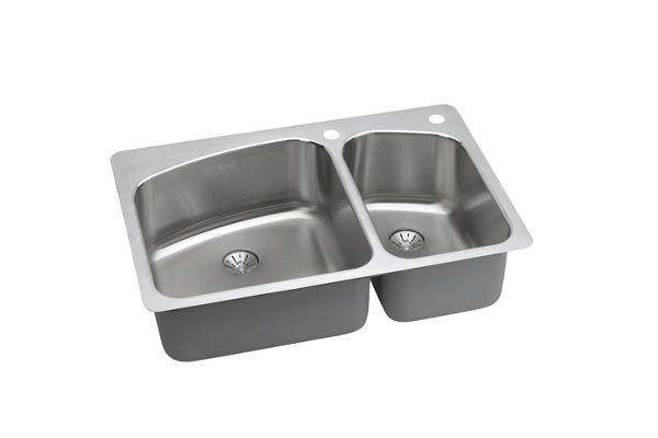 "Elkay Lustertone Stainless Steel 33"" x 22"" x 9"", 60/40 Double Bowl Dual Mount Sink with Perfect Drain"