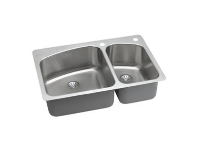 "Image for Elkay Lustertone Stainless Steel 33"" x 22"" x 9"", Offset Double Bowl Dual Mount Sink with Perfect Drain from ELKAY"