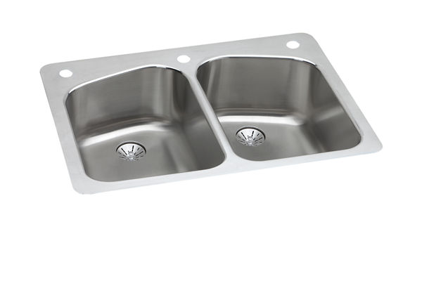 "Elkay Lustertone Stainless Steel 33"" x 22"" x 9"", Equal Double Bowl Dual Mount Sink with Perfect Drain"