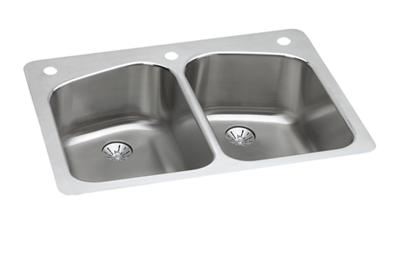 "Image for Elkay Lustertone Stainless Steel 33"" x 22"" x 9"", Equal Double Bowl Dual Mount Sink with Perfect Drain from ELKAY"