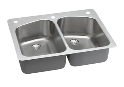 "Image for Elkay Harmony Stainless Steel 33"" x 22"" x 9"", Equal Double Bowl Dual Mount Sink with Perfect Drain from ELKAY"