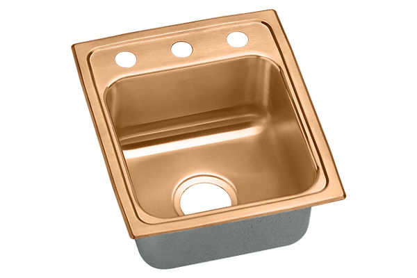 "Elkay CuVerro Antimicrobial Copper 13"" x 16"" x 7-5/8"", Single Bowl Drop-in Sink"