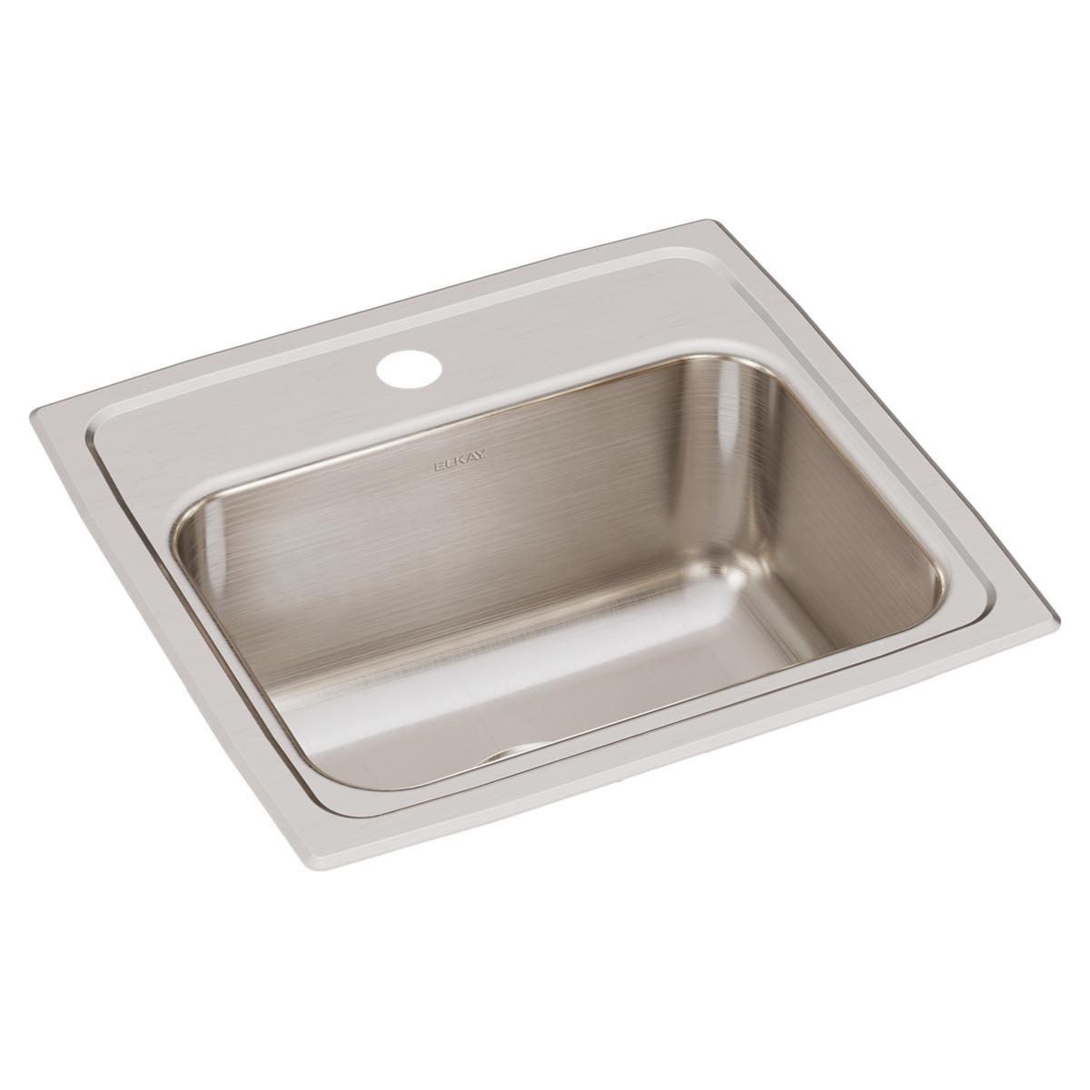 """Elkay Lustertone Classic Stainless Steel 17"""" X 16"""" X 7-5/8"""", Single Bowl Drop-in Sink"""