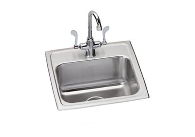 "Image for Elkay Lustertone Stainless Steel 17"" x 16"" x 7-5/8"", Single Bowl Top Mount Sink + Faucet Kit from ELKAY"
