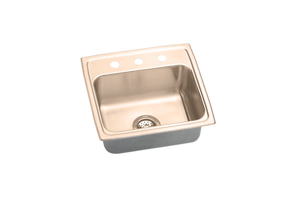 Lustertone CuVerro® Antimicrobial Copper Single Bowl Top Mount Sink