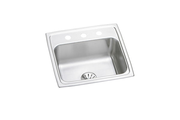 "Elkay Lustertone Stainless Steel 19-1/2"" x 19"" x 7-1/2"", Single Bowl Top Mount Sink with Perfect Drain"