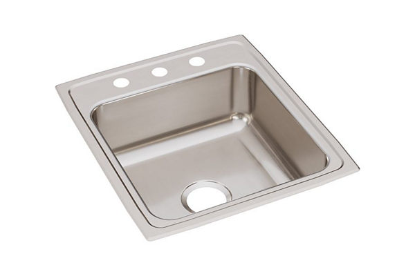 "Elkay Lustertone Stainless Steel 19-1/2"" x 22"" x 7-5/8"", Single Bowl Top Mount Sink"