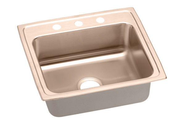 Lustertone® CuVerro® Antimicrobial Copper Single Bowl Top Mount Sink