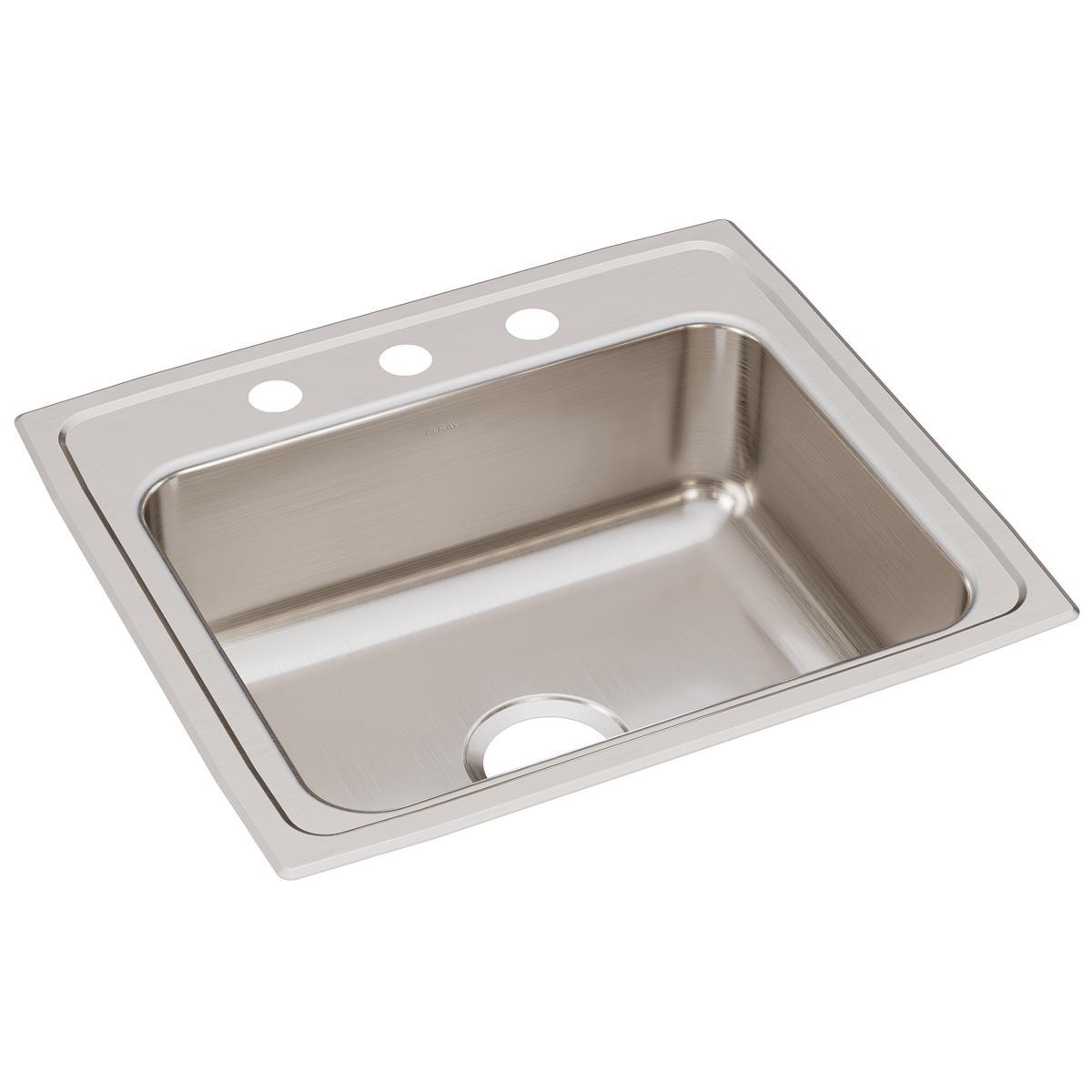 """Elkay Lustertone Classic Stainless Steel 22"""" X 19-1/2"""" X 7-5/8"""", Single Bowl Drop-in Sink"""