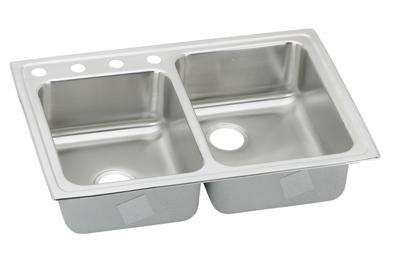 "Image for Elkay Lustertone Stainless Steel 33"" x 22"" x 7-7/8"", Offset Double Bowl Top Mount Sink from ELKAY"