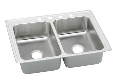 "Image for Elkay Gourmet Stainless Steel 25"" x 19-1/2"" x 7-5/8"", Equal Double Bowl Top Mount Sink from ELKAY"