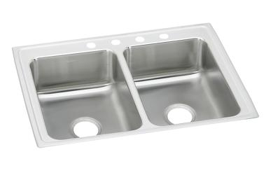 "Image for Elkay Lustertone Stainless Steel 25"" x 19-1/2"" x 7-5/8"", Equal Double Bowl Top Mount Sink from ELKAY"