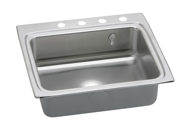 "Elkay Gourmet Stainless Steel 25"" x 22"" x 8-1/8"" Single Bowl Top Mount Sink"