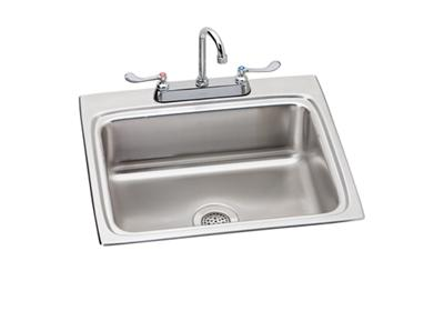 "Image for Elkay Lustertone Stainless Steel 25"" x 22"" x 6"", Single Bowl Top Mount ADA Sink + Faucet Kit from ELKAY"