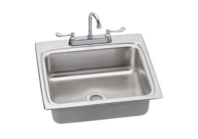 "Image for Elkay Lustertone Stainless Steel 25"" x 22"" x 6-1/2"", Single Bowl Top Mount Sink + Faucet Kit from ELKAY"