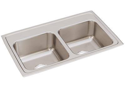 "Image for Elkay Lustertone Classic Stainless Steel 29"" x 18"" x 7-5/8"", Equal Double Bowl Drop-in Sink from ELKAY"