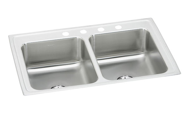 "Elkay Lustertone Stainless Steel 33"" x 21-1/4"" x 7-7/8"", Equal Double Bowl Top Mount Sink with Perfect Drain"