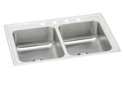 "Image for Elkay Lustertone Stainless Steel 33"" x 21-1/4"" x 7-7/8"", Equal Double Bowl Top Mount Sink with Perfect Drain from ELKAY"