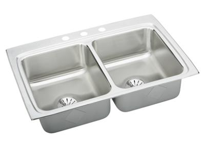 "Image for Elkay Gourmet Stainless Steel 33"" x 22"" x 8-1/8"", Equal Double Bowl Top Mount Sink with Perfect Drain from ELKAY"